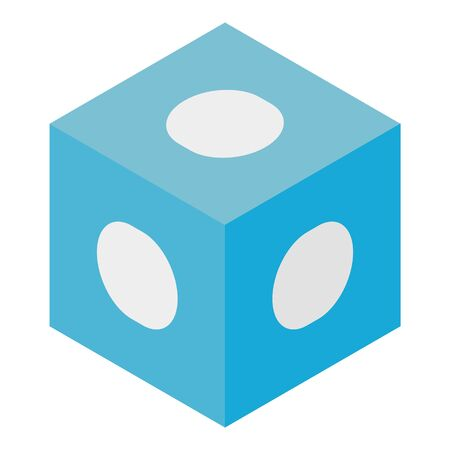 Blue cube with white dots. icon, isometric style Фото со стока - 129888112