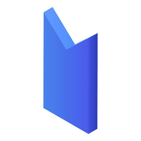 Blue bookmark icon, isometric style