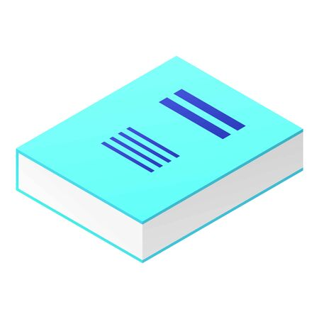 Thick blue book icon, isometric style
