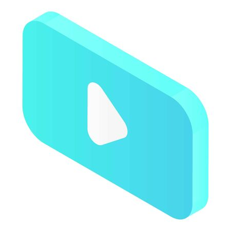 Blue video symbol icon, isometric style