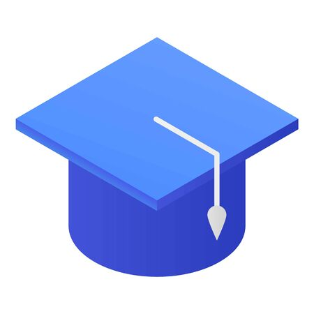 Blue academic cap icon, isometric style Illustration