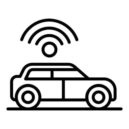 Wifi sign over the car icon, outline style