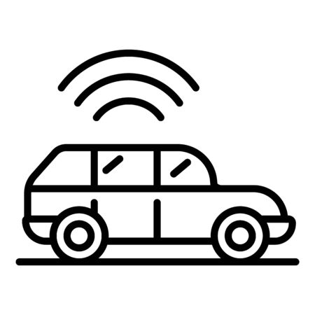 Car and GPS icon, outline style Фото со стока - 129888200