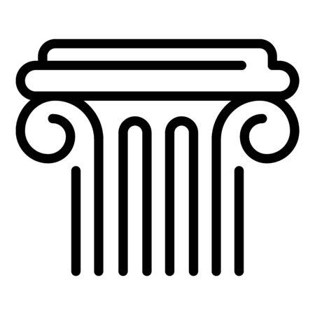 Ancient greek column icon, outline style Иллюстрация