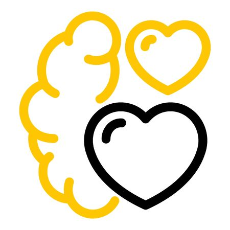 Brain and two hearts icon, outline style