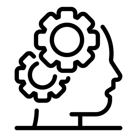 Two gears in the head icon, outline style