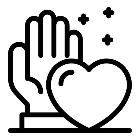 Palm and heart icon. Outline palm and heart vector icon for web design isolated on white background Illustration