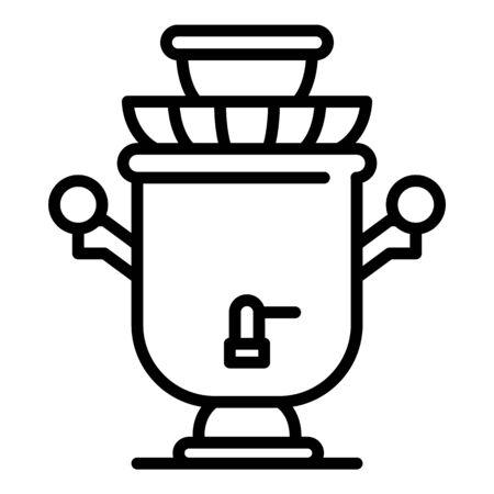 Viejo icono de samovar, estilo de contorno Ilustración de vector