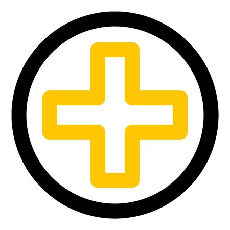 Yellow medical cross icon, outline style