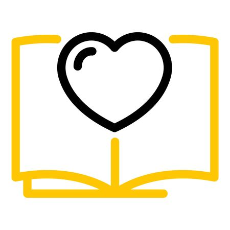 Book and heart icon, outline style Illustration