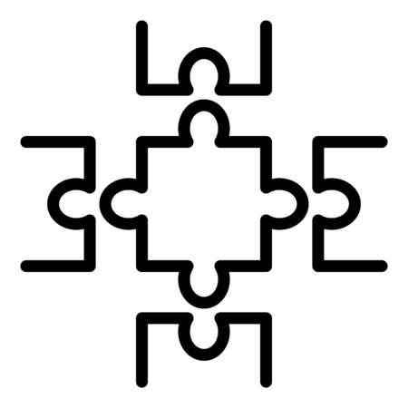 Complete puzzle icon, outline style Illustration
