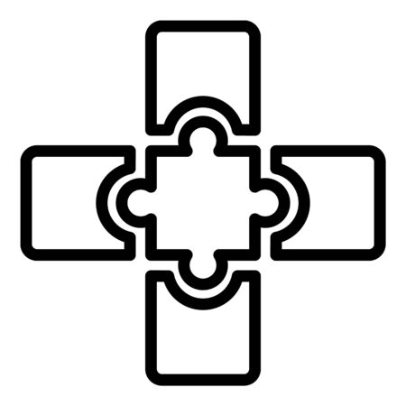 Jigsaw combination icon, outline style Illustration