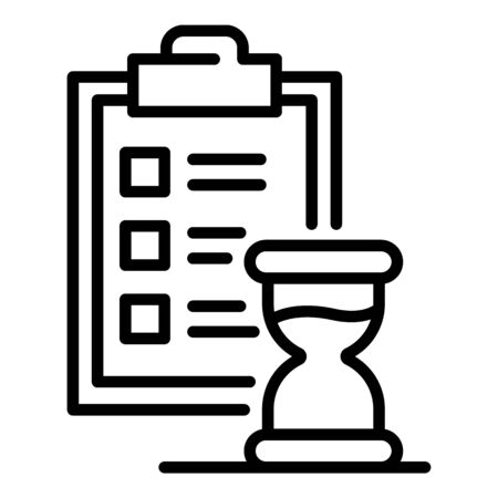Hourglass and list icon. Outline hourglass and list vector icon for web design isolated on white background