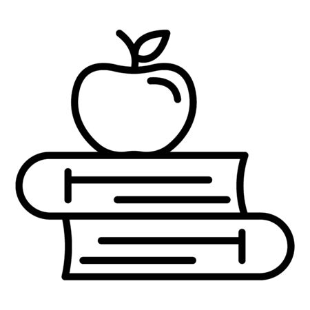 Apple on books icon. Outline apple on books vector icon for web design isolated on white background