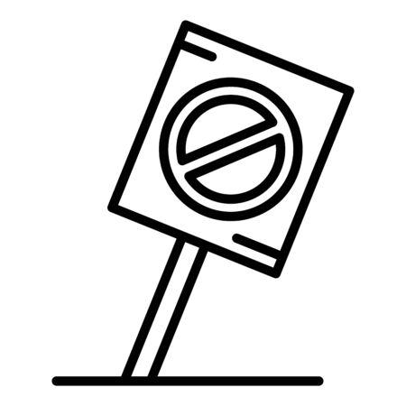 Icona del cartello di protesta. Delineare l'icona del vettore del cartellone di protesta per il web design isolato su sfondo bianco Vettoriali