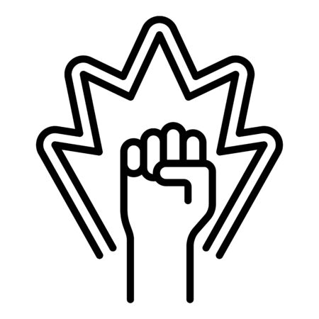 Protest fist up icon. Outline protest fist up vector icon for web design isolated on white background