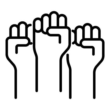 Protest fists icon. Outline protest fists vector icon for web design isolated on white background