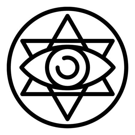 Icono de emblema de alquimia de ojo, estilo de contorno Ilustración de vector
