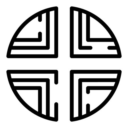 Circle cross alchemy icon, outline style