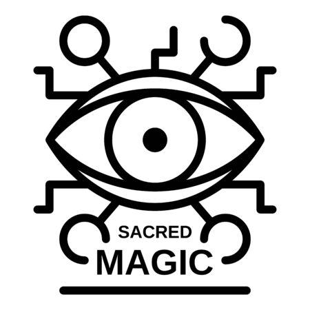 Sacred magic eye icon, outline style 写真素材 - 129981374