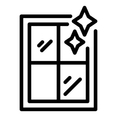 Shining clean window icon, outline style
