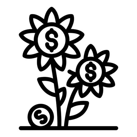 Flower money investition icon, outline style