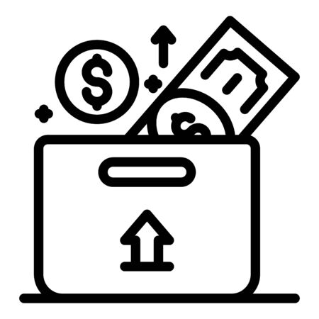Investor money box icon, outline style