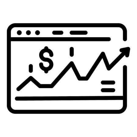 Web investor money icon, outline style Çizim