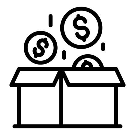 Money box investor icon, outline style Illusztráció