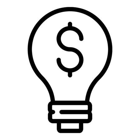 Money bulb idea icon, outline style