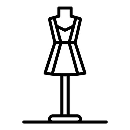 Short dress on a mannequin icon, outline style