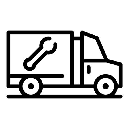 Wrench delivery truck icon, outline style Illustration