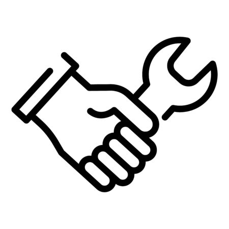 Wrench in hand icon. Outline wrench in hand vector icon for web design isolated on white background