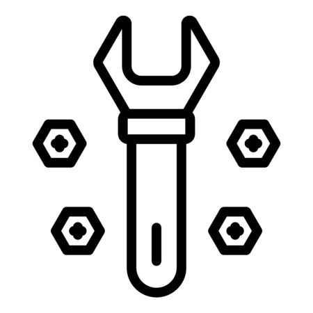 Metal wrench bolt icon. Outline metal wrench bolt vector icon for web design isolated on white background