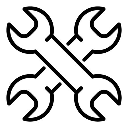 Crossed wrench icon, outline style  イラスト・ベクター素材