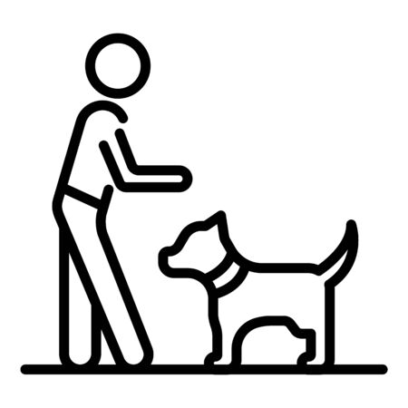 Boy play dog icon, outline style Standard-Bild - 129992773