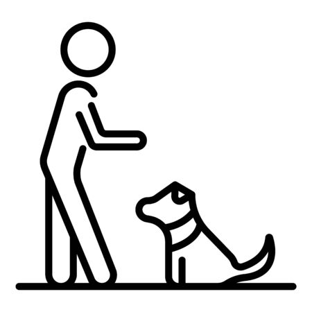 Kid play with dog icon, outline style Çizim