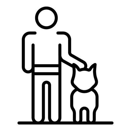 Man training dog icon. Outline man training dog vector icon for web design isolated on white background Illustration