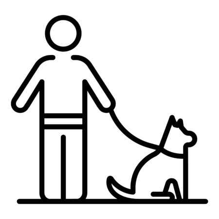 Man walking dog icon, outline style
