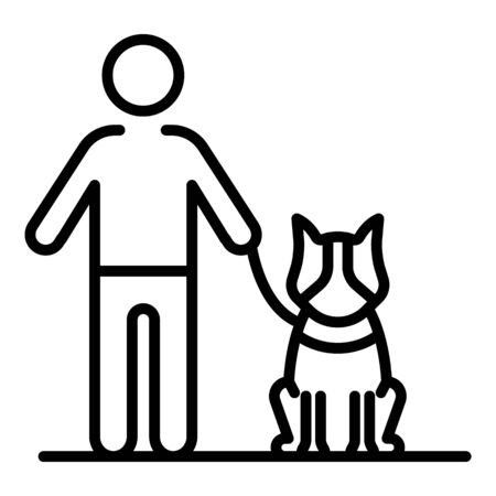 Dog stay near kid icon. Outline dog stay near kid vector icon for web design isolated on white background Illustration
