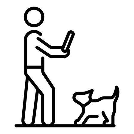 Dog waiting wood stick icon, outline style Stok Fotoğraf - 129992781