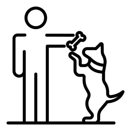 Man give bone to dog icon, outline style Ilustração