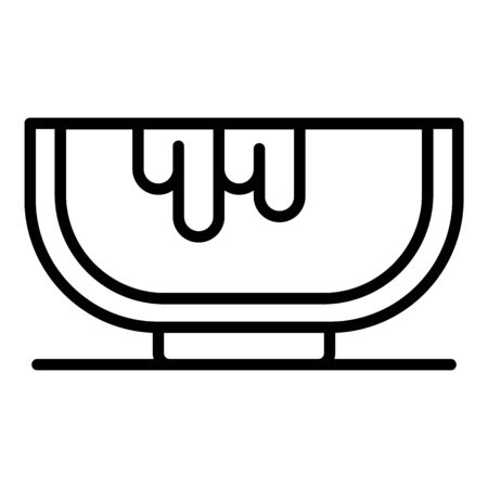 Plate hair dye icon, outline style