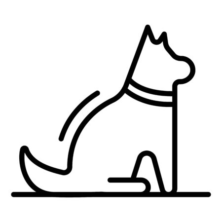 Happy sit dog icon, outline style