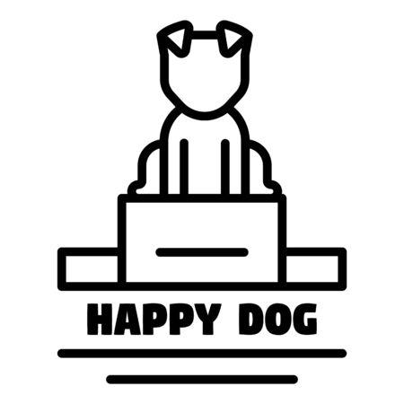Happy dog  outline style Ilustração