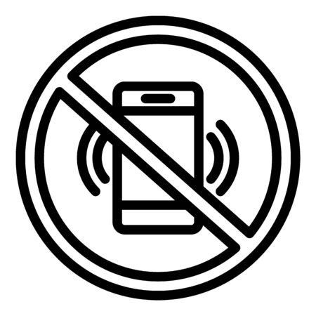 Crossed smartphone icon, outline style