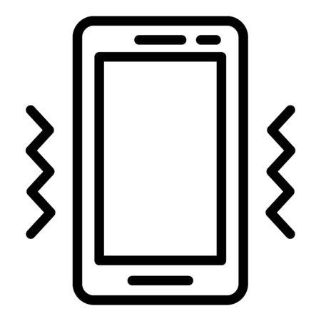 Smartphone vibro mode icon, outline style 일러스트