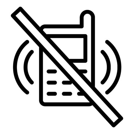 Icône de téléphone barré, style de contour