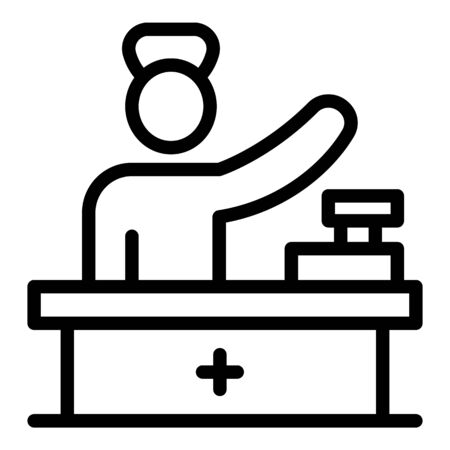 Pharmacist at checkout icon. Outline pharmacist at checkout vector icon for web design isolated on white background