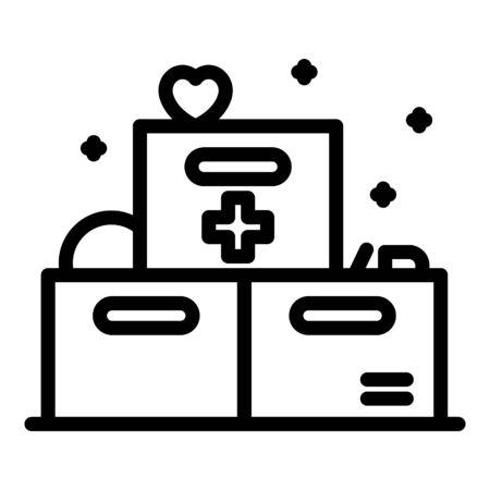 Medicine boxes icon. Outline medicine boxes vector icon for web design isolated on white background Ilustração